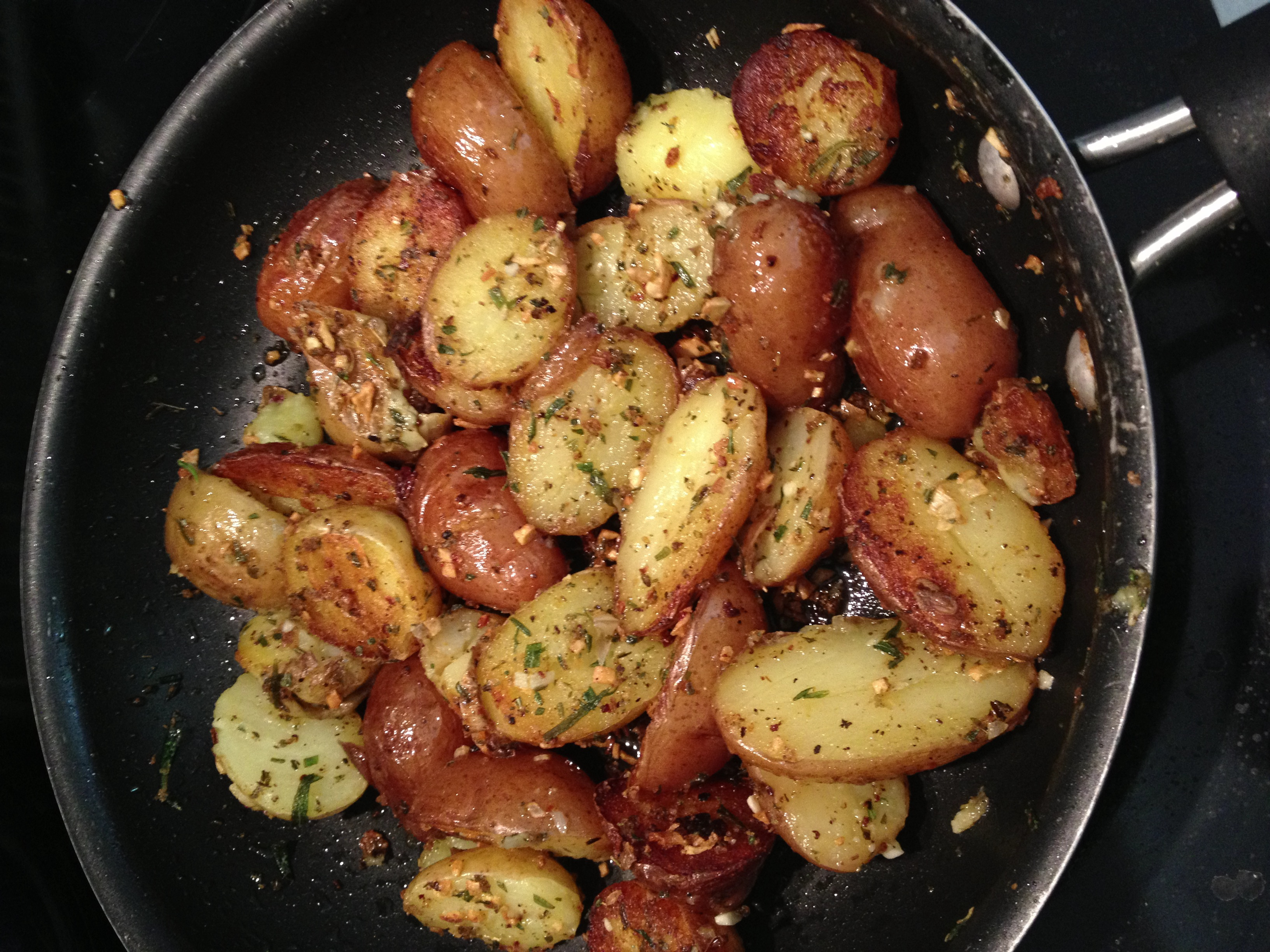 Most of the time I like to do roasted potatoes with rosemary and olive oil but when time is short that is something you can do it.